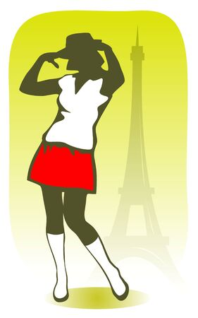 parisian: The stylized Parisian girl on a background of Tour dEiffel. Illustration