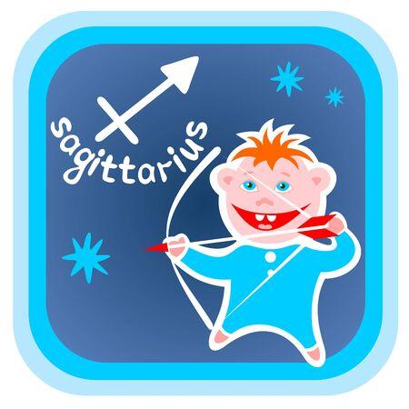 Feliz Sagitario aislados de dibujos animados sobre un fondo azul. Zodiac signo astrológico. Ilustración de vector