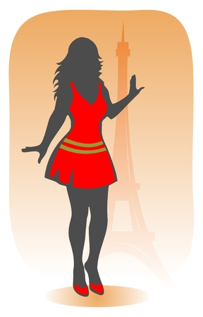 d'eiffel: The stylized pretty Parisian girl on a background of Tour dEiffel.