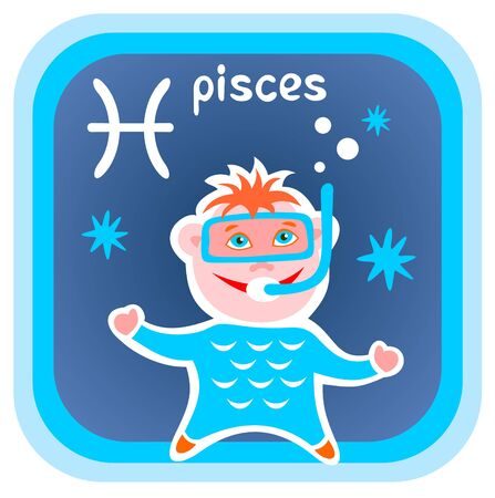 Happy cartoon Pisces isolated on a blue background. Zodiac star sign. Vector