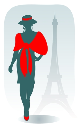 french girl: The stylized Parisian woman on a background of Tour dEiffel.