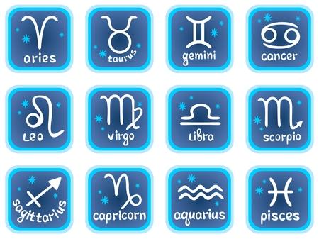 signes du zodiaque: White horoscope symboles stylisés sur fond bleu. Zodiac star signes.
