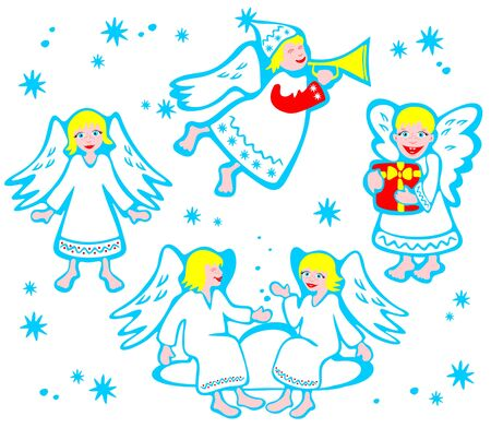 Set of cartoon angels isolated on a white background. Christmas illustration. Vector