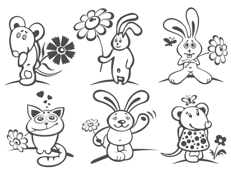Set of cartoon animals with flowers isolated on a white background. Valentines day illustration. Vector