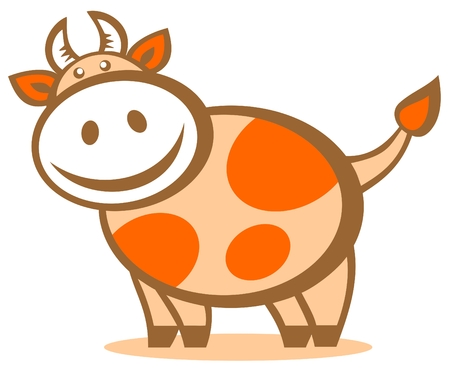 Cartoon cheerful happy cow isolated on a white background. Zodiac sign. Illustration
