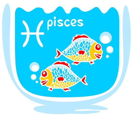 Happy cartoon Pisces  on a blue background. Zodiac star sign. Vector