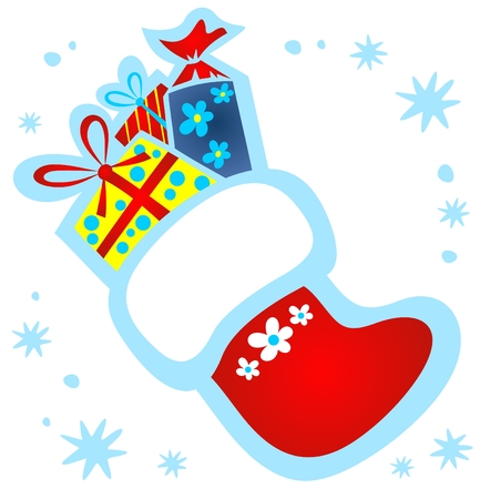 Cartoon Christmas stocking with gifts on a white background. Vector