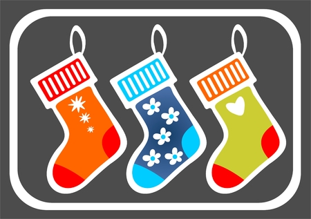 Three stylized Christmas stocking isolated on a black background. Vector