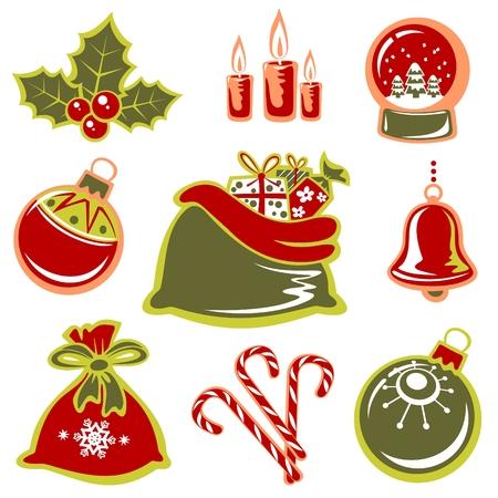 Cartoon Weihnachten Symbole gesetzt isoliert auf weißem Hintergrund.
