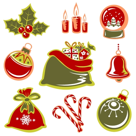 Cartoon Christmas symbols set isolated on a white background. Vector
