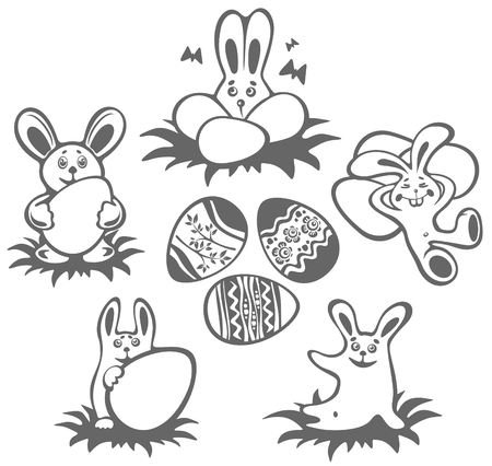Set of rabbits and Easter eggs isolated on a white background. Easter  illustration. Vector
