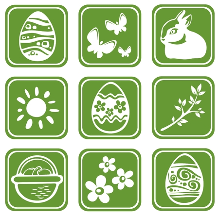 Nine easter symbols isolated on a green background. Vector