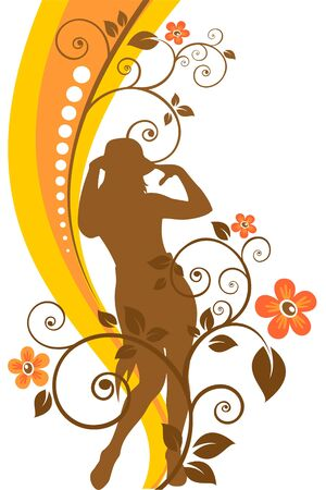 Pretty girl silhouette on a striped background with flowers. Vector