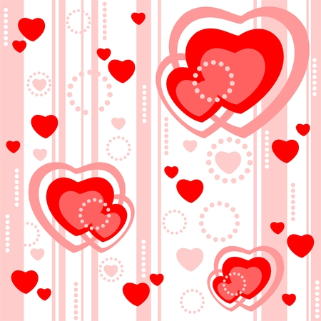 Romantic pattern with hearts and strips on a white background. Illustration