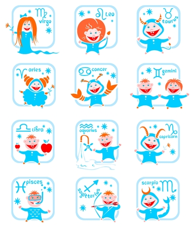 Cartoon horoscope symbols on a white background. Zodiac star signs. Vector