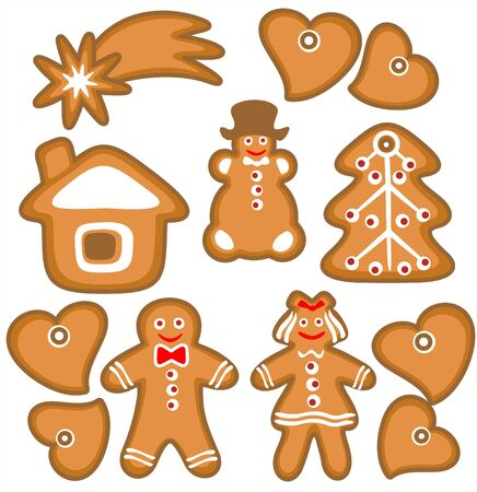 Gingerbread cookies isolated on a white background. Christmas illustration. illustration