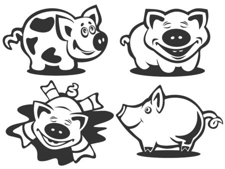Cartoon happy piggies silhouettes isolated on a white background. Vector