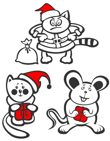 Cartoon Christmas animals isolated  on  a white background. Christmas illustration. Vector