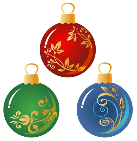 Cartoon ornate Christmas balls isolated on a white background.