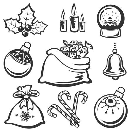 globe vector: Cartoon Christmas symbols set isolated on a white background.