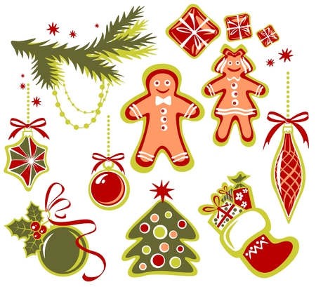 Cartoon Christmas symbols set isolated on a white background. Stock Vector - 4043641