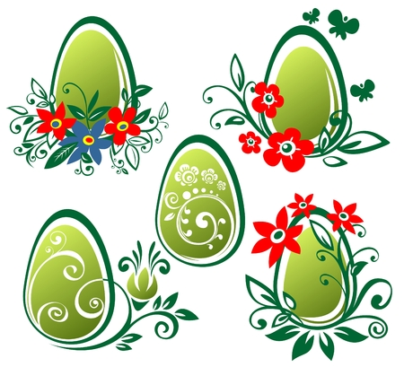 Stylized Easter eggs isolated on a white background. . Vector
