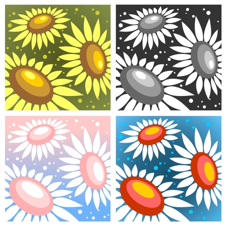Four abstract  pattern with stylized sunflowers and dots. Vector