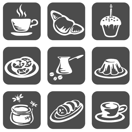 Nine ornate food symbols on a black background. Vector