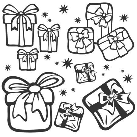 Cartoon set of gift boxes isolated on a white background. Holiday illustration. Vector