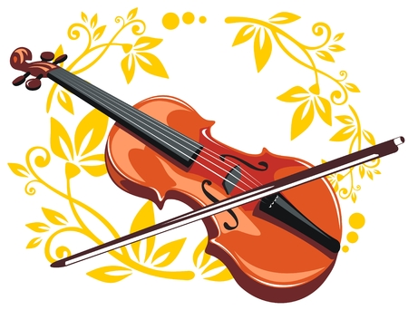 Stylized violin and bow with floral pattern on a white background.