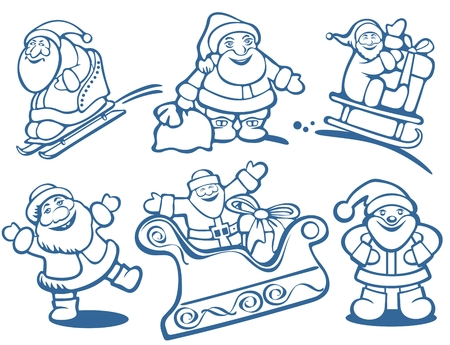 amuse: Cartoon Santa Clauses silhouettes isolated on a white background. Christmas illustration.