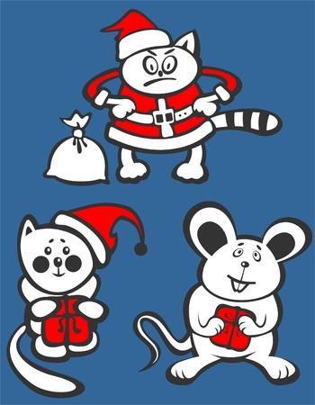 Cartoon Christmas animals isolated  on  a blue background. Christmas illustration. Vector