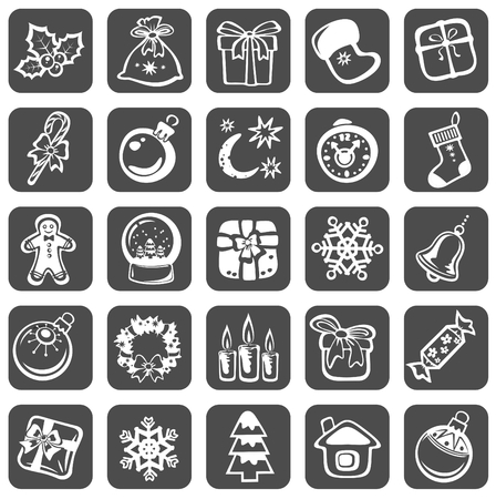 Cartoon Christmas symbols set isolated on a black background.