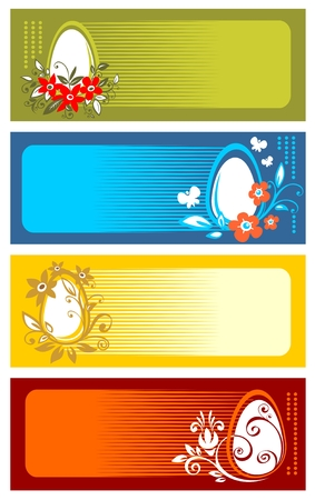 Ornate easter eggs with floral pattern on a striped backgrounds. Vector