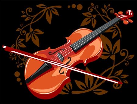 Gestileerde viool en boog met bloemen patroon op een zwarte achtergrond.