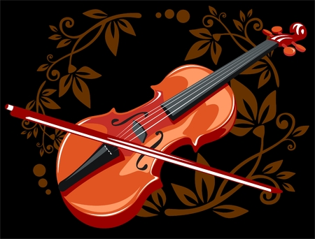 Stylized violin and bow with floral pattern on a black background.