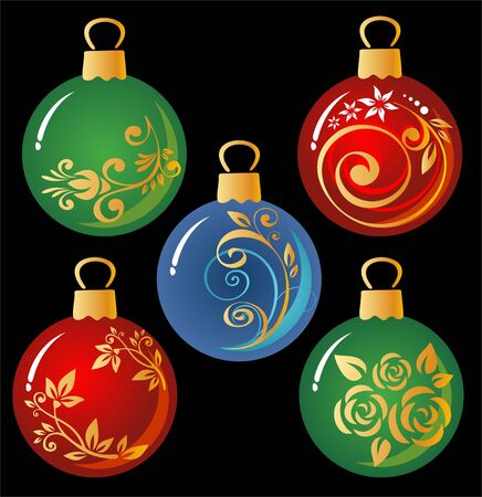 Ornate Christmas balls set isolated on a black background. Vector