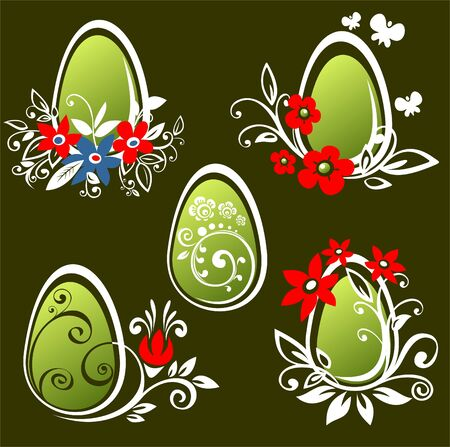 Stylized Easter eggs set  isolated on a black background. . Vector