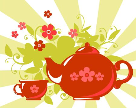 Stylized tea cup and teapot with  flowers on a striped background. Vector