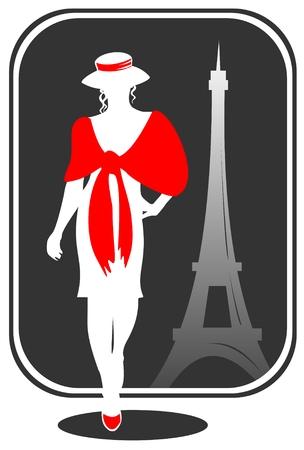parisian: Pretty girl on a background of Tour dEiffel silhouette. Illustration