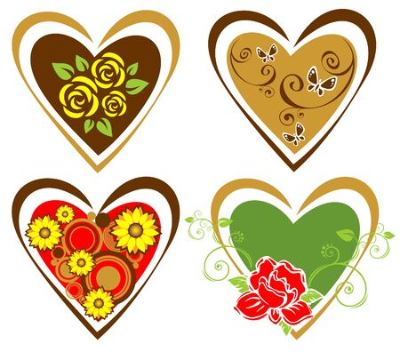 Four ornate hearts isolated on a white background. Valentines illustration. Vector