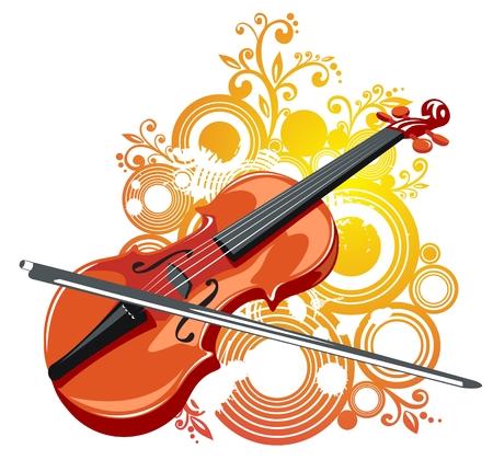 ヴァイオリンと抽象的なグランジ パターン、白い背景で様式化されました。  イラスト・ベクター素材
