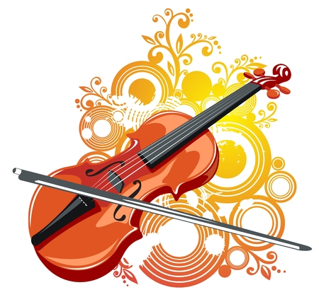 Stylized violin and abstract grunge pattern on a white background.