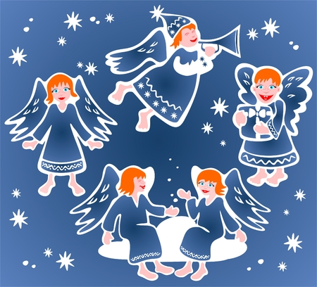 Set of cartoon angels on a blue background. Christmas illustration. Vector