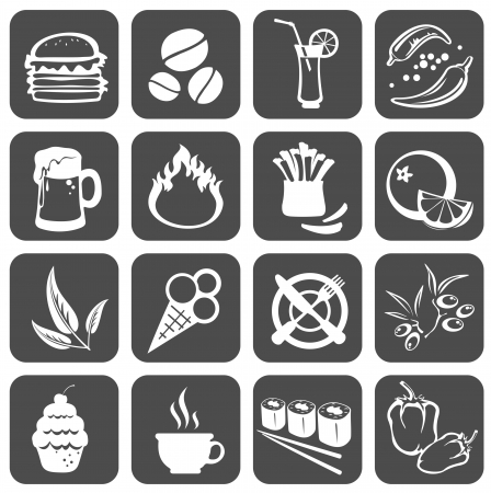 Sixteen  food symbols isolated on a black background.