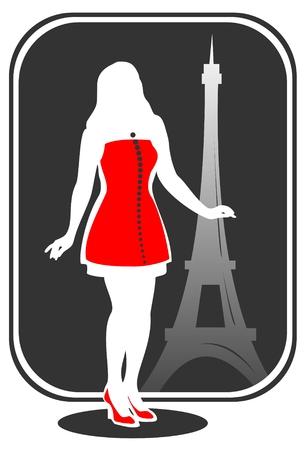 d'eiffel: Pretty girl on a background of Tour dEiffel silhouette. Illustration