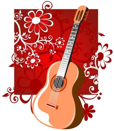 country music: Chitarra stilizzata su uno sfondo rosso con fiori.
