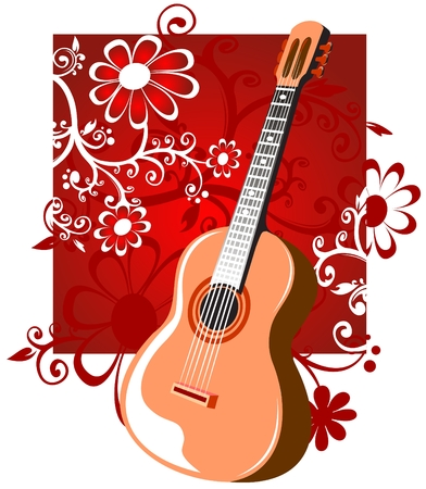 Stylized guitar on a red background with flowers. Illustration