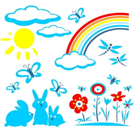 Cartoon Easter symbols set isolated on a white background. Vector