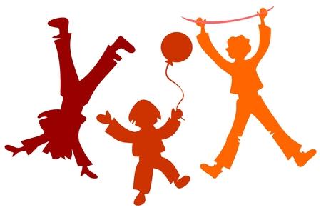 trois enfants: Trois enfants silhouettes isol�es sur un fond blanc